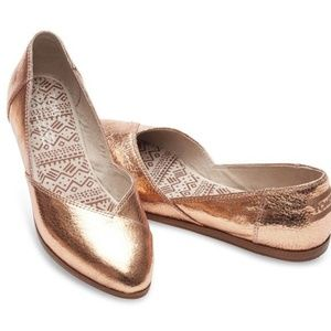 TOMS Jutti Flats in Rose Gold Leather
